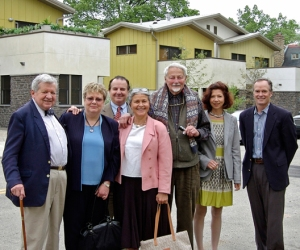 Gardner/Fox president Brook Gardner (far right) led the George Woodward Company board members on a tour of one of the environmentally friendly twin homes pictured here. Tour attendees included (from left to right) Board Member David Spangler; Secretary, Judy Harvey; Board Member Jim Perna; Treasurer, Svaha Woodward; Chairman, Stanley Woodward; President, Tansy Foster; and Gardner/Fox President, Brook Gardner.