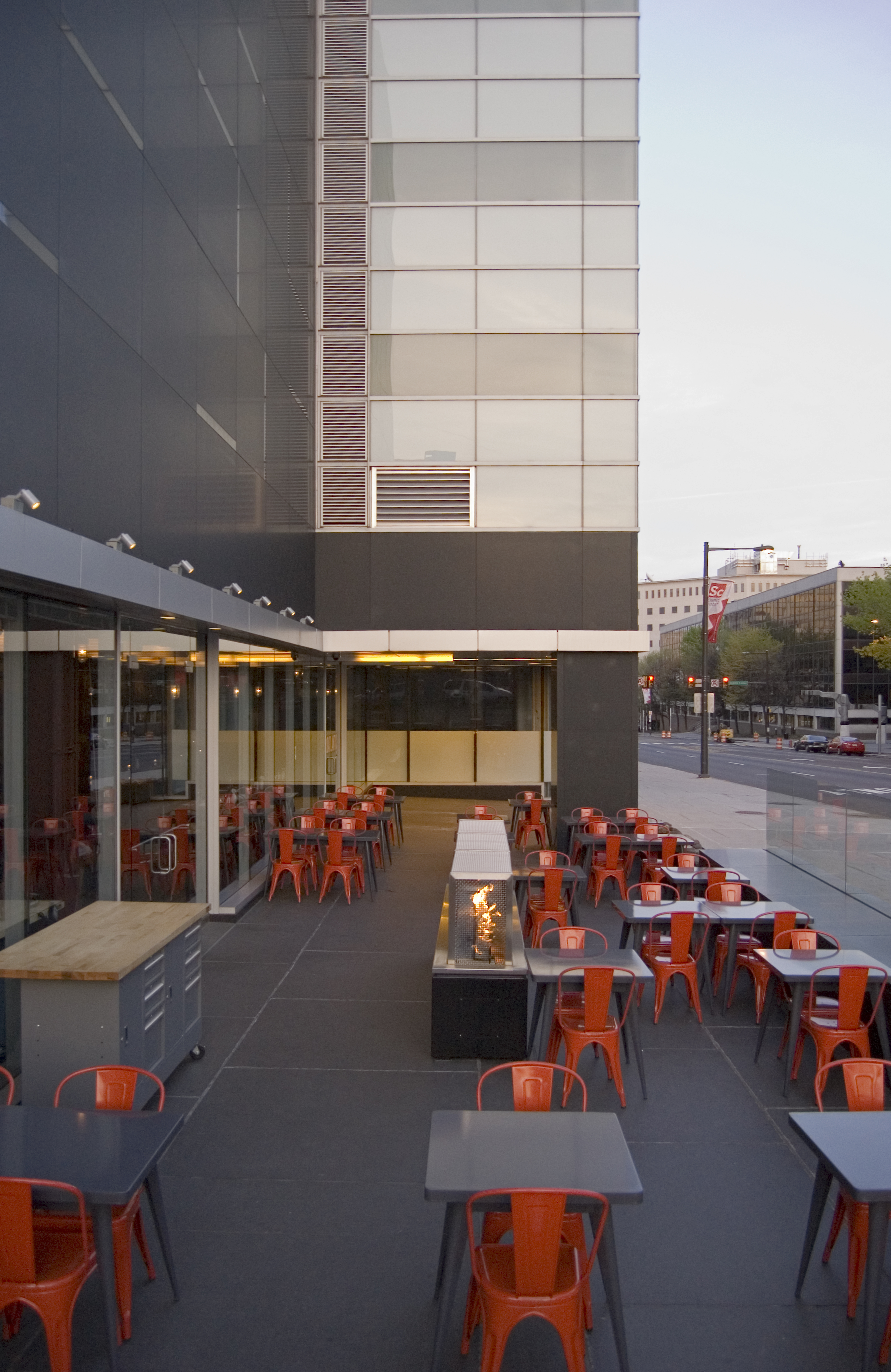 Philadelphia Restauarant Fit Out With Outdoor Dining And Modern Gas  Fireplace Installation And Construction