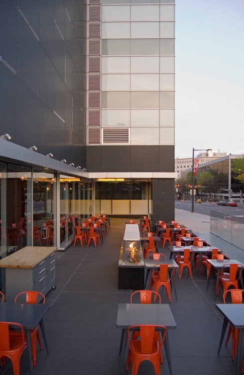 Philadelphia Restauarant Fit-Out with Outdoor Dining and Modern Gas Fireplace Installation and Construction