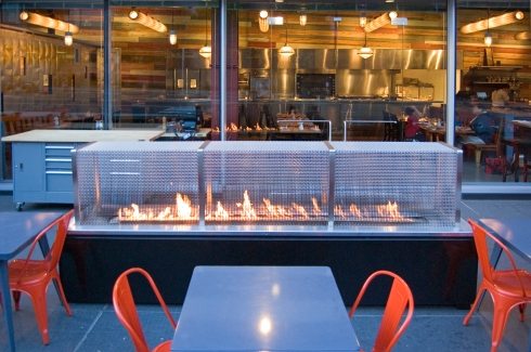 Philadelphia Restaurant Outdoor Dining Spark Modern Fireplace Design and Installation